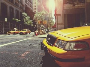 Yellow cabs on the street
