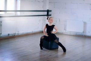 A girl dancing.