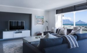 an image of a blue living room